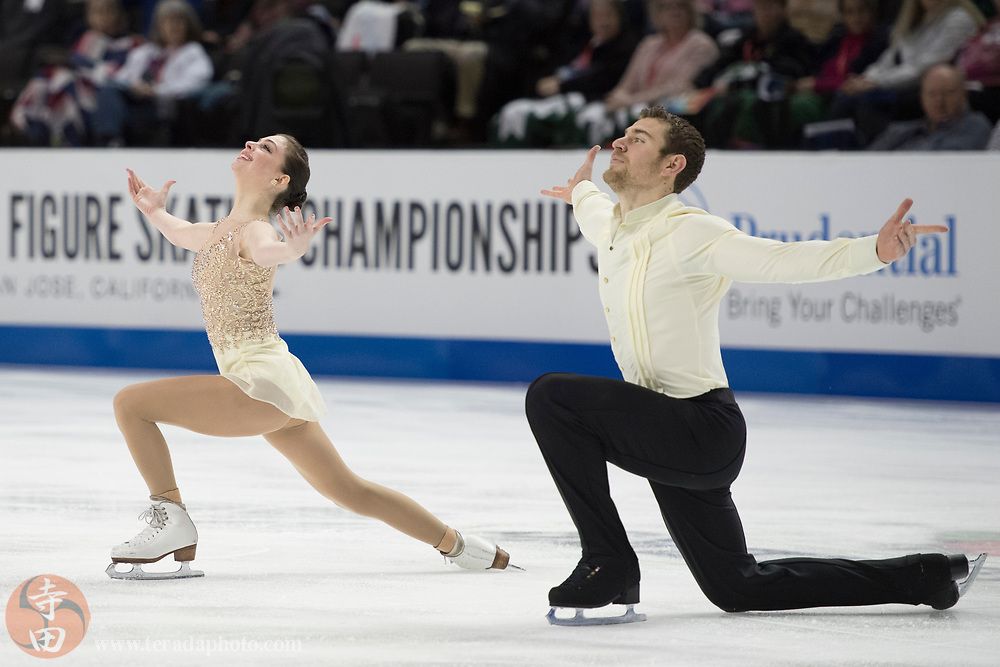 January 4, 2018; San Jose, CA, USA; Haven Denney and Brandon Frazier perform in the pairs short program during the 2018 U.S. Figure Skating Championships at SAP Center.