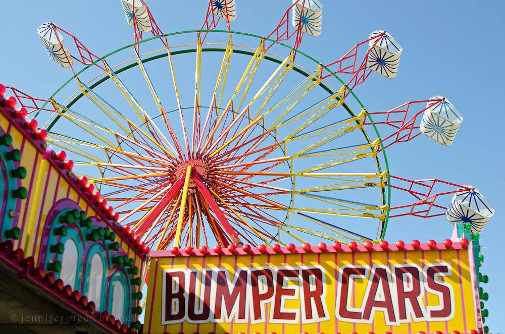 Bumper cars and ferris wheel at the Blue Hill Fair, Maine