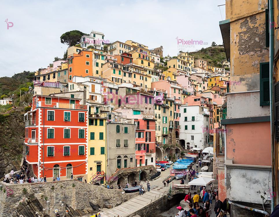 Riomaggiore, Italy - April 21, 2019 Village of Riomaggiore in Cinque Terre in Italy