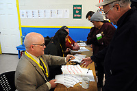 Volunteers check in to the 2017 Point-In-Time Homeless Count and Survey conducted by the Coalition of Homeless Service Providers in Salinas early Wednesday morning, Jan. 25th.