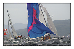 Yachting- The first days inshore racing  of the Bell Lawrie Scottish series 2002 at Tarbert Loch Fyne. Near perfect conditions saw over two hundred yachts compete. <br />Holographic (GBR1706L)a 1720 having some issues with a take down.<br />Pics Marc Turner / PFM
