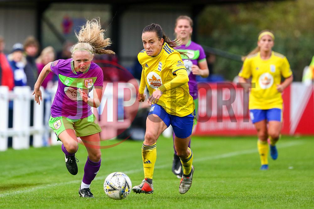 Katie Robinson of Bristol City Women is challenged by Marisa Ewers of Birmingham City Women - Mandatory by-line: Ryan Hiscott/JMP - 14/10/2018 - FOOTBALL - Stoke Gifford Stadium - Bristol, England - Bristol City Women v Birmingham City Women - FA Women's Super League 1