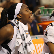Chiney Ogwumike, Connecticut Sun, encourages team mates from the bench during the Connecticut Sun Vs Seattle Storm WNBA regular season game at Mohegan Sun Arena, Uncasville, Connecticut, USA. 23rd May 2014. Photo Tim Clayton