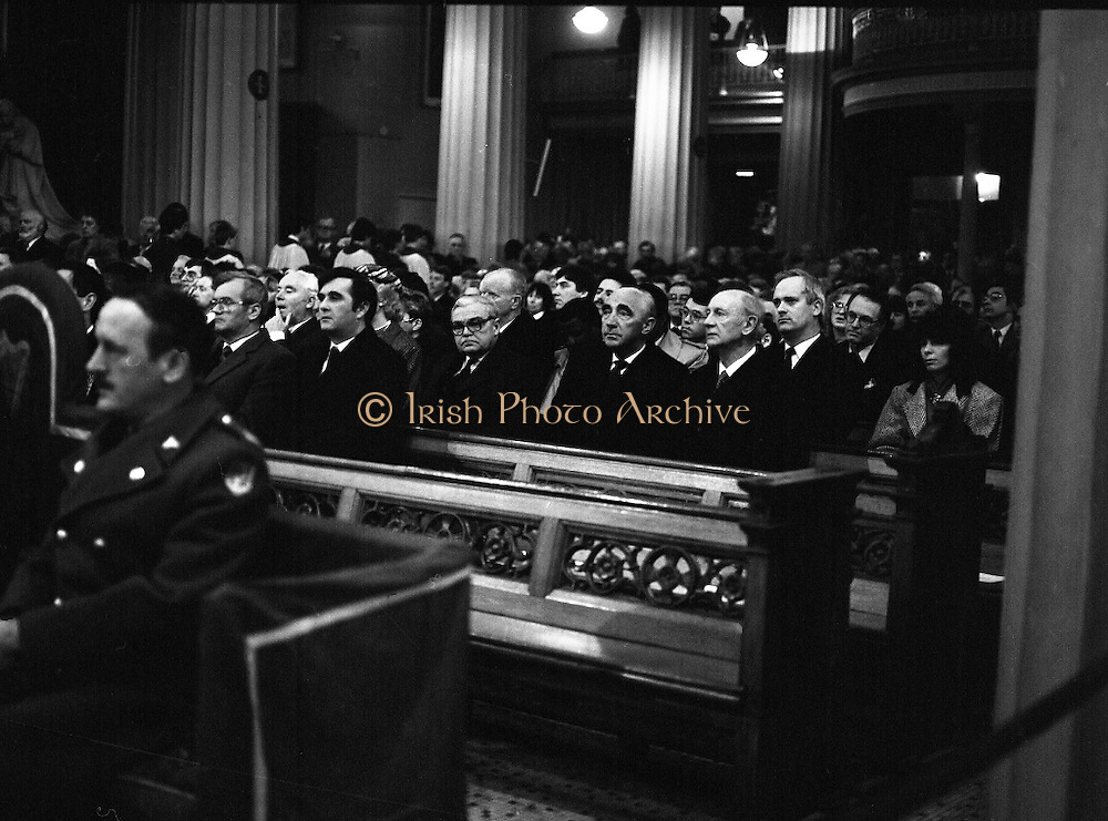 Funeral Of Sean McBride.   (R71)..1988..18.01.1988..01.18.1988..18th January 1988..Today saw the Funeral of Seán McBride.Seán MacBride was an Irish government minister, a prominent international politician and a former Chief of Staff of the IRA. His funeral took place from the Pro-Cathedral in Dublin to the family plot in Glasnevin Cemetery, Dublin.The Chief mourners were Tiernan McBride,son, Anna White,daughter and Declan White, son in law...Image shows a view of some of the dignitaries who attended the funeral of the late Seán McBride.