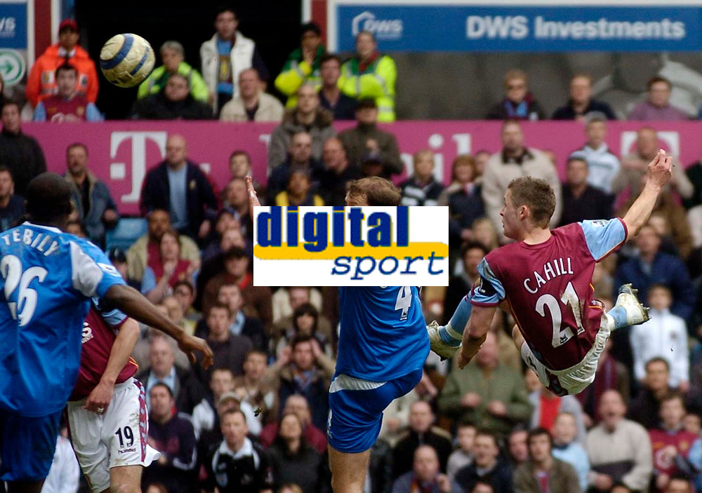 Photo: Glyn Thomas.<br />Aston Villa v Birmingham City. The Barclays Premiership. 16/04/2006.<br /> Aston Villa's Gary Cahill (R) spectacularly scores his first goal for the club, giving his team the lead again at 2-1.