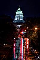 Wisconsin State Capitol & Washington Avenue, Rainy Morning