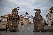 View to Hradcanske Namesti (Prague Castle Square) an the main entrance to the castle.