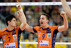 Matevz Kamnik and Dejan Vincic of ACH celebrate at  match for 3rd place of CEV Indesit Champions League FINAL FOUR tournament between PGE Skra Belchatow, POL and ACH Volley Bled, SLO on May 2, 2010, at Arena Atlas, Lodz, Poland.  (Photo by Vid Ponikvar / Sportida)