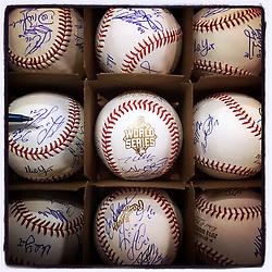 Kansas City Royals autographed team baseballs, 2015 World Series