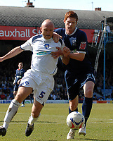 Photo: Ashley Pickering.<br /> Southend United v Colchester United. Coca Cola Championship. 06/04/2007.<br /> Matt Harrold of Southend (R) challenges Wayne Brown of Colchester for the ball
