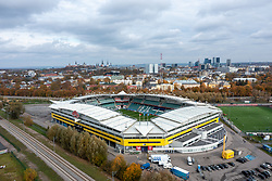 TALLINN, ESTONIA - Sunday, October 10, 2021: An aerial view of the A. Le Coq Arena, home of the Estonian national football team and FC Flora Tallinn pictured ahead of the FIFA World Cup Qatar 2022 Qualifying Group E match between Estonia and Wales. (Pic by David Rawcliffe/Propaganda)