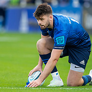 DUBLIN, IRELAND:  October 9:   Harry Byrne #10 of Leinster lines up a conversion during the Leinster V Zebre, United Rugby Championship match at RDS Arena on October 9th, 2021 in Dublin, Ireland. (Photo by Tim Clayton/Corbis via Getty Images)