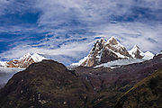 Nevados Pucajirca (6000 meters) seen from Jancapampa Valley, in Cordillera Blanca, Andes Mountains, Peru, South America. Day 4 of 10 days trekking around Alpamayo in Huascaran National Park (UNESCO World Heritage Site).