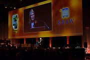 Koning Willem Alexander bij uitreiking Heinekenprijzen in de Beurs van Berlage. / King Willem Alexander at Heineken Awards ceremony in the Beurs van Berlage.<br /> <br /> Op de foto / On the photo:  Charlene de Carvalho-Heineken