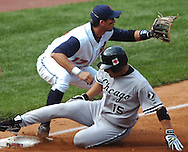 MORNING JOURNAL/DAVID RICHARD<br />Chicago baserunner Tadahito Iguchi slides safely in the bag with a triple yesterday in the third inning. Iguchi later scored on a sac fly by Paul Konerko.