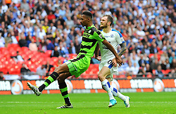 Ethan Pinnock of Forest Green Rovers holds off former FGR player James Norwood now of Tranmere Rovers - Mandatory by-line: Nizaam Jones/JMP - 14/05/2017 - FOOTBALL - Wembley Stadium- London, England - Forest Green Rovers v Tranmere Rovers - Vanarama National League Final