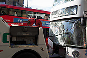 The resulting damage to a London buss windscreen after a crash involving three buses at Elephant and Castle, on 16th October 2018, in London, England.