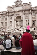 Gladiator and a swarm of tourists at the Trevi Fountain, Rome, Lazio, Italy.