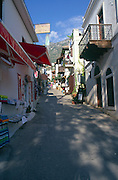 Shops, buildings and narrow streets in the town of Kalkan, Turkey