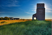 Grain elevator in ghost town<br /> Bents<br /> Saskatchewan<br /> Canada