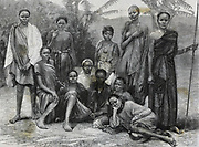 Sudanese slave girls rescued in Cairo. Engraving 1890.