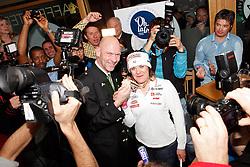 10.02.2013, Oh la la - Gasthaus Brunner, AUT, FIS Weltmeisterschaften Ski Alpin, Schladming, im Bild Goldmedailllen Gewinnerin Marion Rolland (FRA) mit Juergen Winter, Buergermeister der Stadt Schladming // Marion Rolland of France poses with her Gold Medal and meets Juergen Winter, mayor of Schladming, during FIS Ski World Championships 2013 at the Oh la la - Gasthaus Brunner, Schladming, Austria on 2013/02/10. EXPA Pictures © 2013, PhotoCredit: EXPA/ Martin Huber..