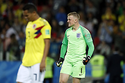 (l-r) Carlos Bacca of Colombia, goalkeeper Jordan Pickford of England during the 2018 FIFA World Cup Russia round of 16 match between Columbia and England at the Spartak stadium  on July 03, 2018 in Moscow, Russia