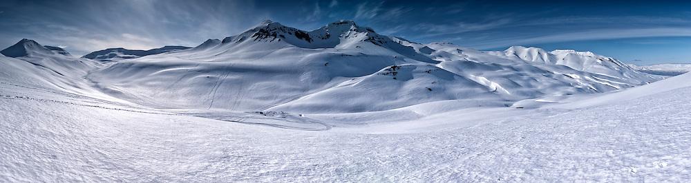 9 frame panorama from Glerardalur walley near Akureyri in north-Iceland.