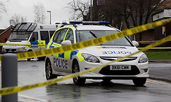 © licensed to London News Pictures. Cheshire, UK  04/03/2012. A man has been shot dead in Culcheth, Cheshire, following a police operation. Forensic investigators examine the scene and police have closed off surrounding roads. Photo credit should read Joel Goodman/LNP