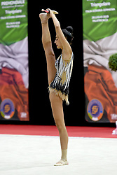 July 28, 2018 - Chieti, Abruzzo, Italy - Rhythmic gymnast Alessia Russia of Italy performs her clubs routine during the Rhythmic Gymnastics pre World Championship Italy-Ukraine-Germany at Palatricalle on 29th of July 2018 in Chieti Italy. (Credit Image: © Franco Romano/NurPhoto via ZUMA Press)