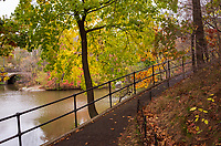 The Ramble in Central Park with a view of Balcony Bridge on the left.