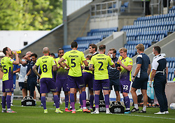 Exeter City players during a water break - Mandatory by-line: Arron Gent/JMP - 18/06/2020 - FOOTBALL - JobServe Community Stadium - Colchester, England - Colchester United v Exeter City - Sky Bet League Two Play-off 1st Leg