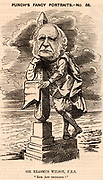 Erasmus Wilson, English surgeon and antiquary (1809-1884).  In medicine he specialised in skin diseases. His other interest was Egyptology of which he was a generous patron.  In 1878 he paid for the transport of Cleopatra's Needle from Egypt to London at a cost of £10,000.  Cartoon by Edward Linley Sambourne in the Punch's Fancy Portraits series from 'Punch' (London, 19 November 1881).