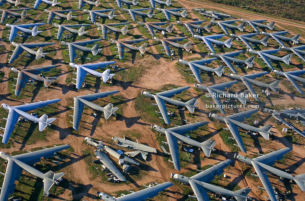 B-52 Cold War bombers of the US Air Force lie abandoned at Davis-Monthan aircraft graveyard awaiting recycling for scrap..