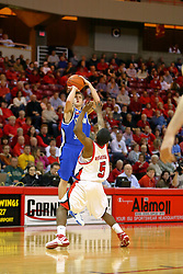 """06 January 2007: Cole Holmstrom shoots over Ketih """"Boo"""" Richardson. The Sycamores of Indiana State University topped the Redbirds home 54 - 50 inside Redbird Arena in Normal Illinois on the campus of Illinois State University.<br />"""