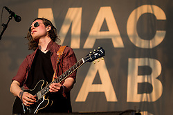 © Licensed to London News Pictures . 08/06/2013 . Heaton Park , Manchester , UK . Hugo White of The Maccabees on the main stage . Day 1 of the Parklife music festival in Manchester on Saturday 8th June 2013 . Photo credit : Joel Goodman/LNP