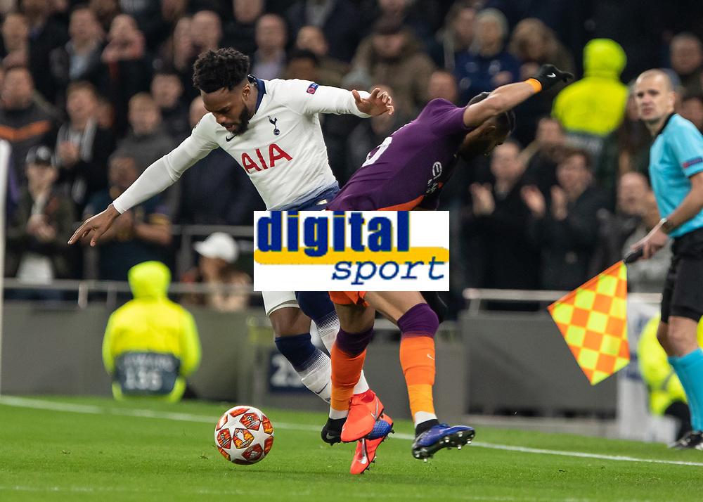 Football - 2018 / 2019 UEFA Champions League - Quarter Final , First Leg: Tottenham Hotspur vs. Manchester City<br /> <br /> Danny Rose (Tottenham FC) tangles with Riyad Mahrez (Manchester City) at White Hart Lane Stadium.<br /> <br /> COLORSPORT/DANIEL BEARHAM