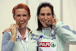Sonja Roman, third at the 1500m women run and Marija Sestak of Slovenia placed second at the final of Women Triple  jump at the 3rd day of  European Athletics Indoor Championships Torino 2009 (6th - 8th March), at Oval Lingotto Stadium,  Torino, Italy, on March 8, 2009. (Photo by Vid Ponikvar / Sportida)