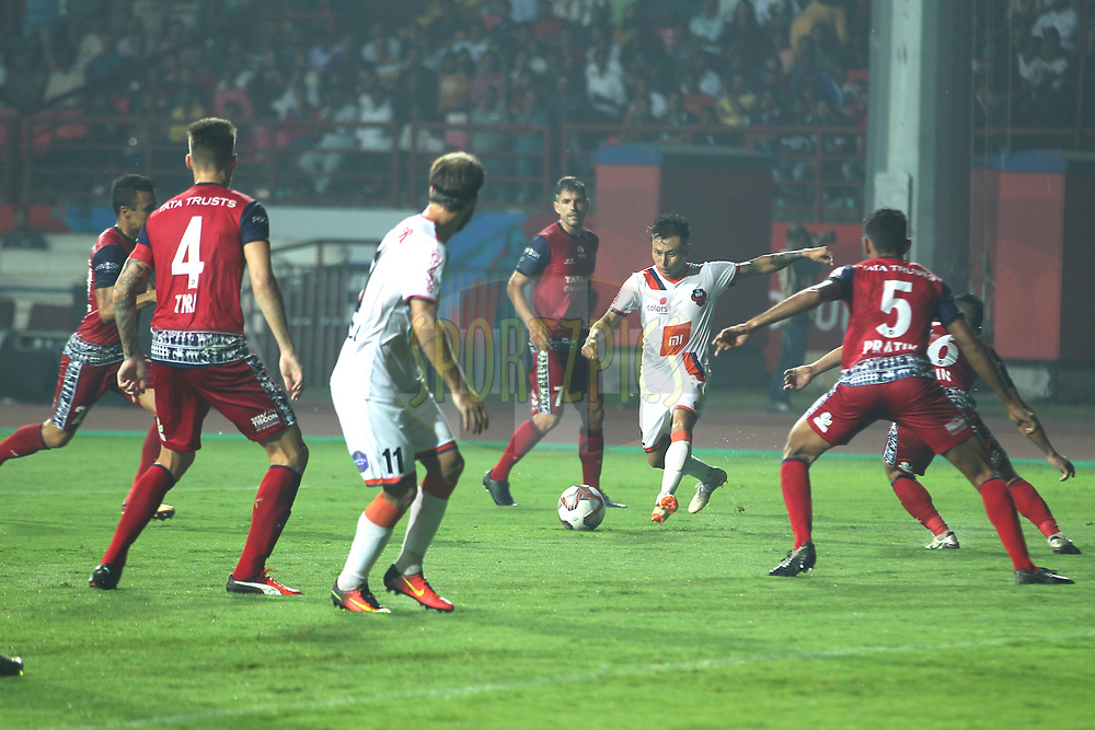 Jackichand Singh of FC Goa hits shot during match 25 of the Hero Indian Super League 2018 ( ISL ) between Jamshedpur FC and FC Goa held at JRD Tata Sports Complex, Jamshedpur, India on the 1st November  2018<br /> <br /> Photo by: Deepak Malik /SPORTZPICS for ISL