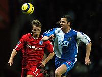 Fotball<br /> England 2004/2005<br /> Foto: BPI/Digitalsport<br /> NORWAY ONLY<br /> <br /> 21/11/2004 <br /> Blackburn Rovers v Birmingham City<br /> FA Barclays Premiership, Ewood Park<br /> <br /> Jesper Grönkjær battles with Nils Eric Johansson