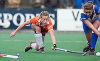 BLOEMENDAAL - Joelle Ketting van Bloemendaal tijdens de overgangsklasse competitiewedstrijd hockey tussen de vrouwen van Bloemendaal en Zwolle (2-0). COPYRIGHT KOEN SUYK