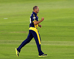 Glamorgan's Dean Cosker celebrates the wicket of Hampshire's Owais Shah - Photo mandatory by-line: Robbie Stephenson/JMP - Mobile: 07966 386802 - 03/07/2015 - SPORT - Cricket - Southampton - The Ageas Bowl - Hampshire v Glamorgan - Natwest T20 Blast