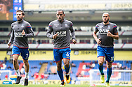 Crystal Palace #7 Yohan Cabaye, Crystal Palace #10 Andros Townsend, Crystal Palace #42 Jason Puncheon (captain) during the warm up at  Premier League match between Crystal Palace and Southampton at Selhurst Park, London, England on 16 September 2017. Photo by Sebastian Frej.