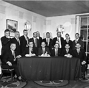 09/06/1967<br /> 06/09/1967<br /> 09 June 1967<br /> Esso and Unions sign a Productivity Agreement at the Gresham Hotel, Dublin. the agreement was between Esso Petroleum Company (Ireland) Ltd and the Irish Transport and General Workers Union; the Amalgamated Transport and General Workers Union and the Amalgamated Engineering Union.