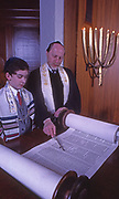 Youth participates in his Bar Mitzvah with Rabbi at Temple Ohev Sholom, Harrisburg, PA
