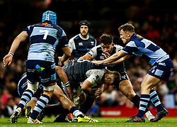 Olly Cracknell of Ospreys under pressure from Jarrod Evans of Cardiff Blues<br /> <br /> Photographer Simon King/Replay Images<br /> <br /> Guinness PRO14 Round 21 - Cardiff Blues v Ospreys - Saturday 27th April 2019 - Principality Stadium - Cardiff<br /> <br /> World Copyright © Replay Images . All rights reserved. info@replayimages.co.uk - http://replayimages.co.uk