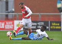 Fleetwood Town's Jimmy Ryan battles with Coventry City's Gael Bigirimana<br /> <br /> Photographer Dave Howarth/CameraSport<br /> <br /> The EFL Sky Bet League One - Fleetwood Town v Coventry Town - Saturday 3 September 2016 - Highbury Stadium - Fleetwood<br /> <br /> World Copyright © 2016 CameraSport. All rights reserved. 43 Linden Ave. Countesthorpe. Leicester. England. LE8 5PG - Tel: +44 (0) 116 277 4147 - admin@camerasport.com - www.camerasport.com