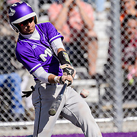 Miyamura Patriot Giovanni Chioda (2) connects for a 2 RBI single against the Aztec Tigers Tuesday at Miyamura High School.