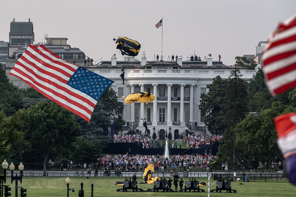 The US Army's Golden Knights parachute team land on the Ellipse south of the White House as President Donald J. Trump and First Lady Melania Trump host the 2020 Salute to America  to celebrate America's Independence Day in Washington, DC on Saturday, July 4, 2020.     Photo by Ken Cedeno/UPI