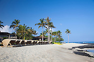 The Four Seasons Resort Hualalai at Historic Kaupulehu on the Big Island of Hawaii. A sandy beach, tide pools and ancient fish ponds make the beach a very diverse environment.